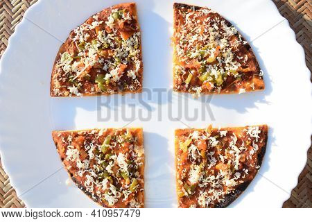 Farali Pizza Made Out Of Fasting Flour Eaten During Indian Fast With Fasting Ingredients Topped With