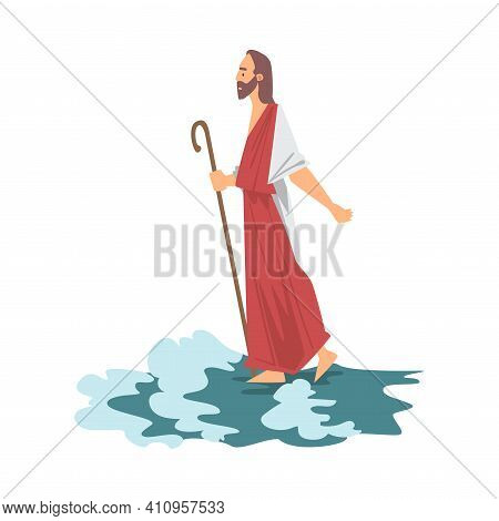Jesus Walking On The Water As Miracle From New Testament In Bible Vector Illustration
