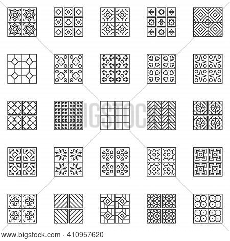Tile Vector Outline Icons Set - Ceramic Floor And Wall Tiles Linear Concept Square Symbols Or Design