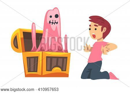 Scared Little Boy Screaming Afraid Of Ghost Peeped Out From Chest As Childhood Fear Vector Illustrat