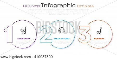 Set Line Diving Mask And Snorkel, Scallop Sea Shell And Snorkel. Business Infographic Template. Vect
