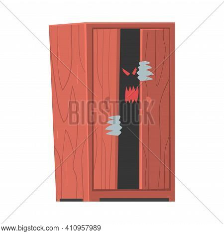Spooky Monster Or Ghost As Grotesque Creature With Terrifying Appearance Sitting In Wardrobe Vector