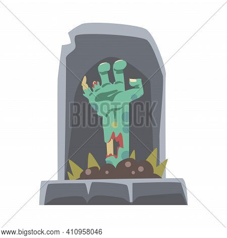 Spooky Zombie Bony Hand Peeped Out From Tomb Vector Illustration