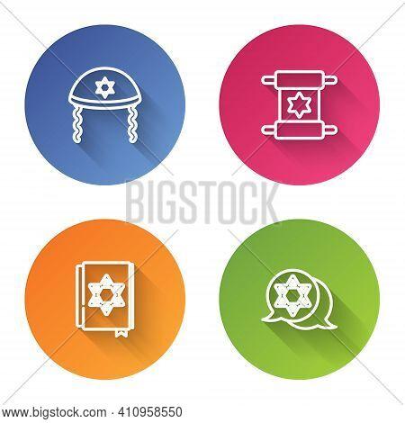 Set Line Jewish Kippah, Torah Scroll, Torah Book And Star Of David. Color Circle Button. Vector