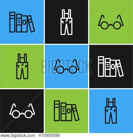 Set Line Book, Eyeglasses And Pants With Suspenders Icon. Vector