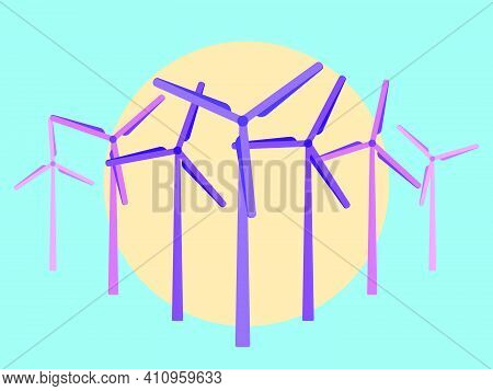 Wind Turbines At Sunset, Pink And Yellow Colors In The Style Of The 80s. Wind Park. Renewable Green