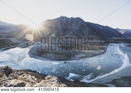 Confluence Of Two Rivers - Chuya And Katun, Altai Republic, Russia. Sunrise, Sunset,