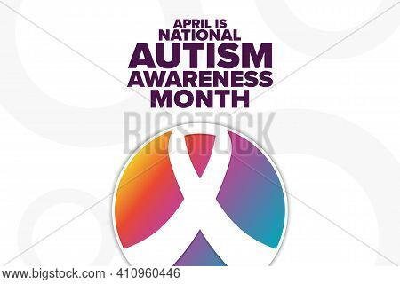 April Is National Autism Awareness Month. Holiday Concept. Template For Background, Banner, Card, Po