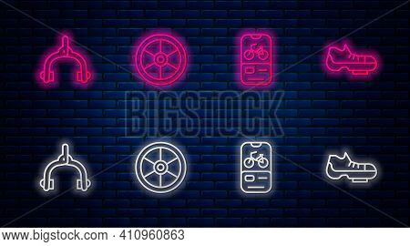 Set Line Bicycle Wheel, Rental Mobile App, Brake Calipers And Shoes. Glowing Neon Icon On Brick Wall