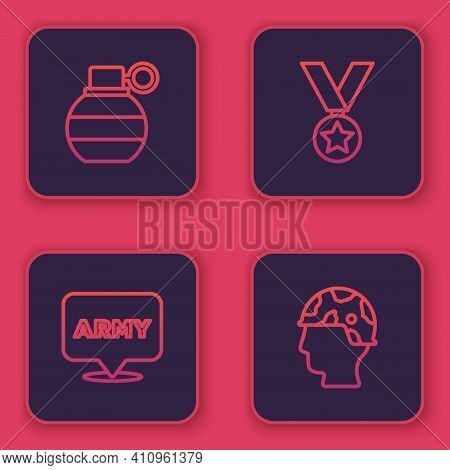 Set Line Hand Grenade, Military Army, Reward Medal And Army Soldier. Blue Square Button. Vector
