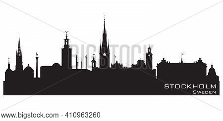 Stockholm Sweden City Skyline Detailed Vector Silhouette