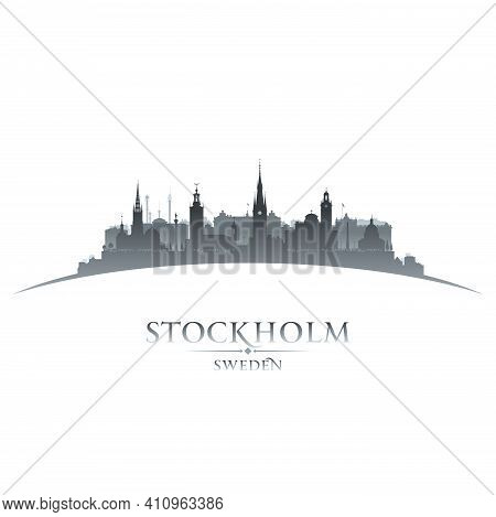 Stockholm Sweden City Skyline Silhouette. Vector Illustration