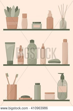 Shelves With Cosmetic Shampoos, Oils, Lotions, Liquid Soaps And Toothbrushes. Bathroom. Vector Illus