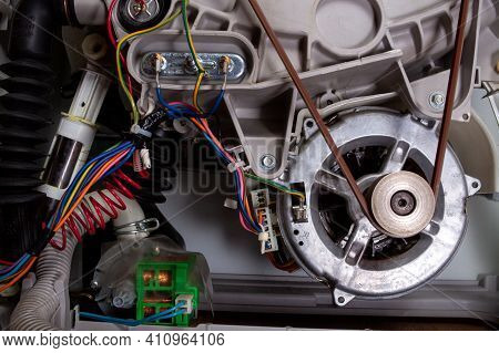 Washing Machine Disassembled With Open Enclosure Is Ready For Service