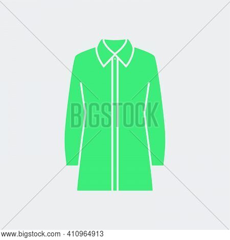 Business Blouse Icon. Green On Gray Background. Vector Illustration.