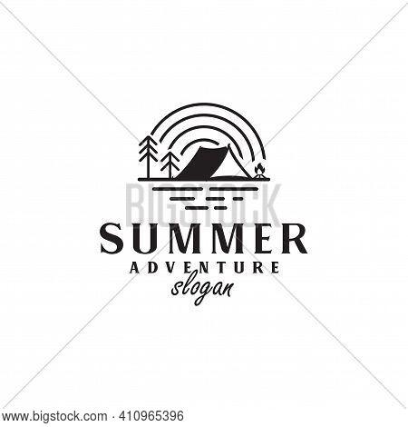 Vintage Wildlife Summer Camp Camping Logo Activities Emblem Badge Illustration