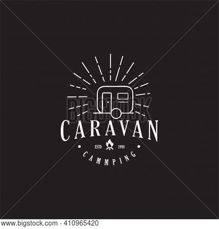 Caravan Camping Camp Travel Logo Line Outdoor Adventure Vintage
