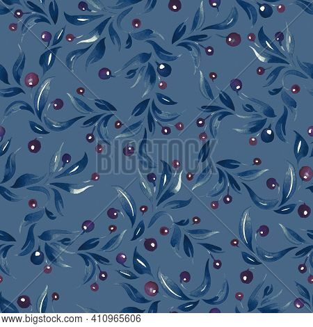 Seamless Watercolor Pattern With Berries And Leaves On The Branches, Pattern Repeating Elements With