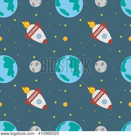 A Space Rocket Flies Near The Earth And The Moon On A Blue Background. Space Exploration. Travel To