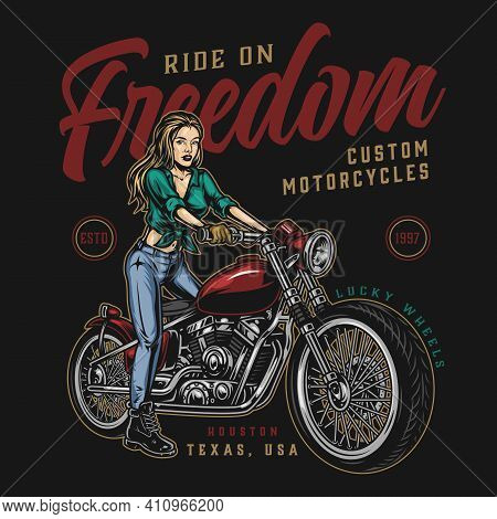 Vintage Colorful Motorcycle Print With Beautiful Woman Moto Rider And Classic Motorbike On Dark Back