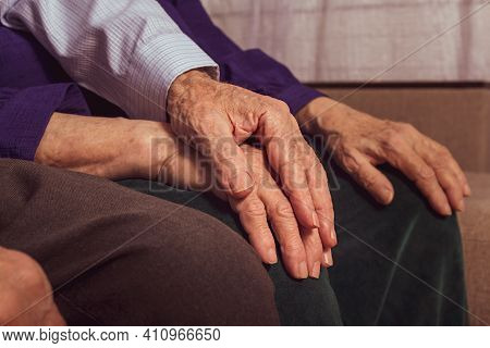 Grandfather Holding Grandmother's Hand. Support And Care To Each Other In Old Marriage Couple. Healt