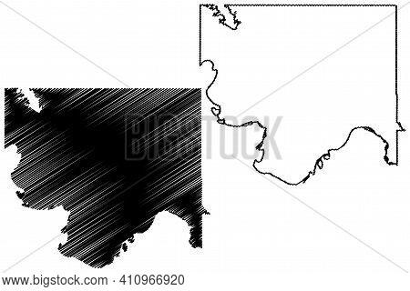 Jefferson County, Oklahoma State (u.s. County, United States Of America, Usa, U.s., Us) Map Vector I