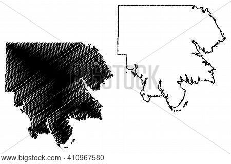 Marshall County, Oklahoma State (u.s. County, United States Of America, Usa, U.s., Us) Map Vector Il