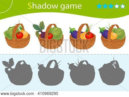 Shadow Game For Kids. Match The Right Shadow. Baskets Of Vegetables. Cabbage, Beetroot, Tomato, Onio