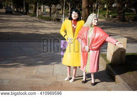 Santiago De Compostela, Spain; March 3, 2021: Statue Of Las Dos Marias At Alameda Park, Santiago De