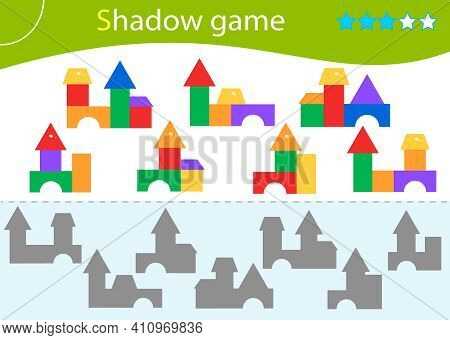 Shadow Game For Kids. Match The Right Shadow. Toy Pyramids. Worksheet Vector Design For Children.