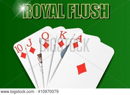 Royal Flush Combination, Diamonds Suit, Playing On The Felt, Close-up. Vector For Casino Apps And We