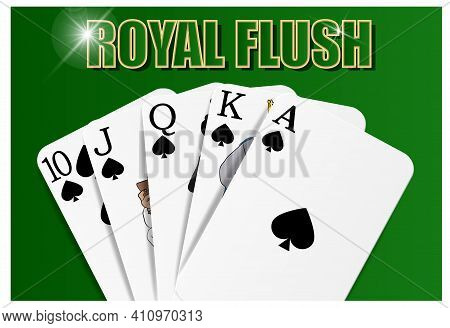 Royal Flush Combination Of Cards, Suit Of Spades, Playing On The Felt, Close-up. Vector For Casino A