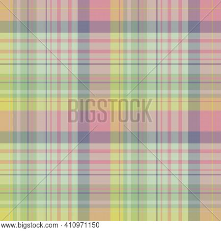 Seamless Pattern In Festive Yellow, Green, Violet And Pink Colors For Plaid, Fabric, Textile, Clothe