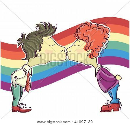 Gay Couples Kissing.vector Cartoons Image Isolated