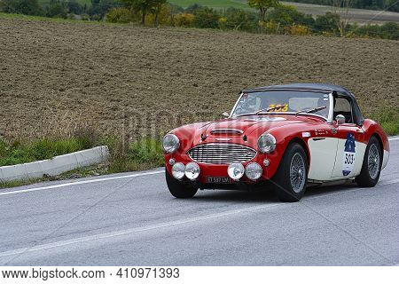 Austin Healey 100/6 1957 An Old Racing Car In Rally Mille Miglia 2020 The Famous Italian Historical