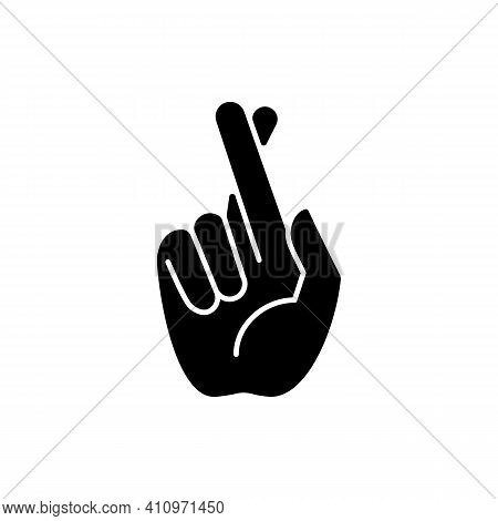 Crossed Fingers Black Glyph Icon. Hand Gesture Used To Wish For Luck. Keep Your Fingers Crossed. Imp