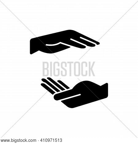 Two Hands Holding Something Black Glyph Icon. Free Space For The Premises Of The Object. Empty Space