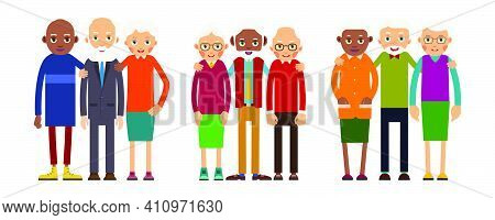 Group Older People. Three Grouping Aged People Black And White. Elderly Men And Women Stand Together