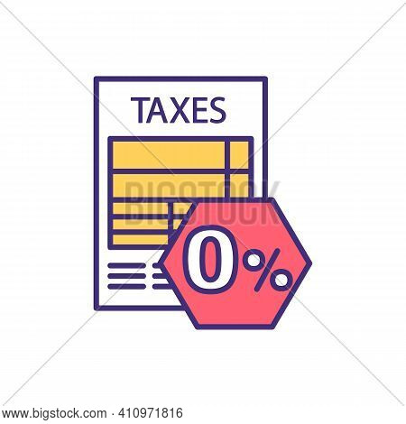 Zero Percent Tax Rate Rgb Color Icon. Taxable Income. Zero-rated Goods And Services. Duty-free Shopp