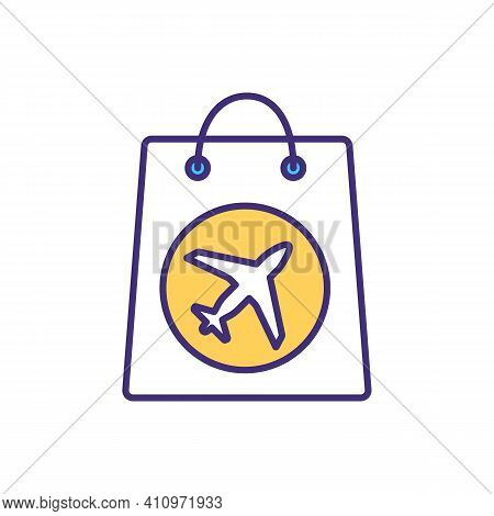 Packing Carry-on Bag Rgb Color Icon. Hand Luggage Item. Souvenirs From Vacation. Bringing Gifts From