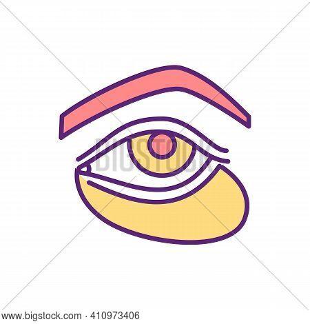 Sunken Eyes Rgb Color Icon. Skin Laxity. Dark Shadows, Hollow Skin Under Eyes. Dehydration, Aging Re