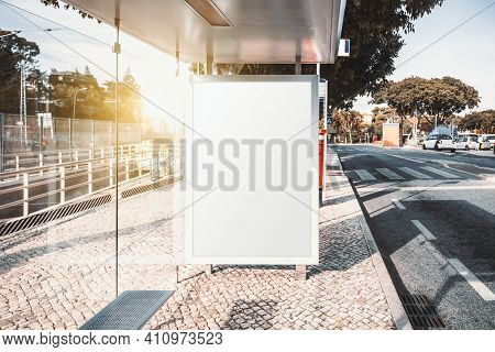 A Modern Bus Stopwith An Empty Placeholder Of An Advertising Billboard Mockup; A Blank Template Of