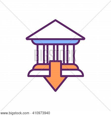 Bank Failure Rgb Color Icon. Bankruptcy. Risk For Financial System. Broken Bank. Business Debts. Res