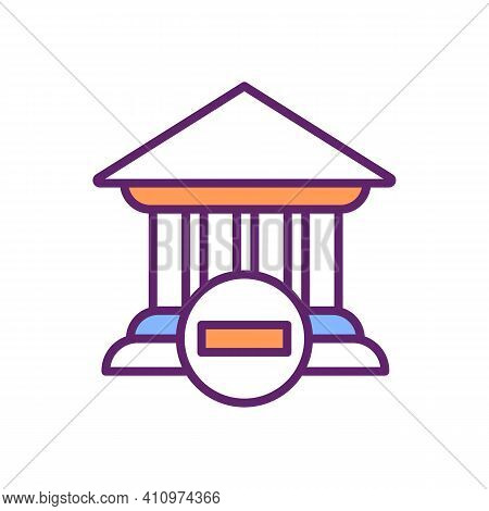 Banking Crisis Rgb Color Icon. Financial Sectors Defaults. Bank Collapse. Banking System Capital Rec