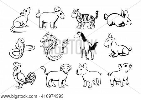 Set Of Twelve Lunar Zodiac Horoscope Symbol. Concept Chinese Happy New Year. Line Art  Vector Illust