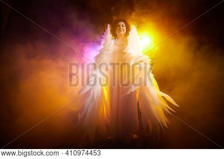 A Brunette Girl In An Elegant Dress And With White Angel Wings On A Black Background. Model, Actress