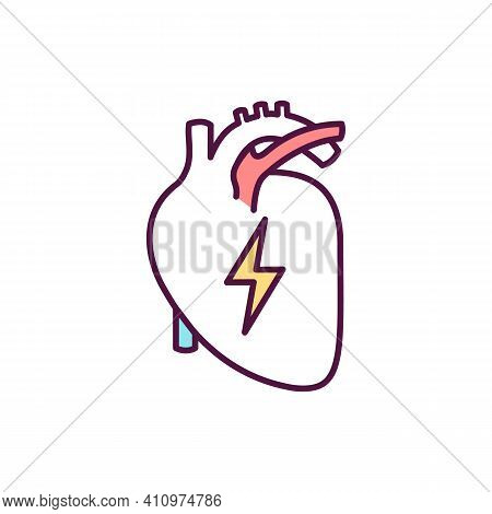 Heart Disease Diagnosis Rgb Color Icon. Myocardial Infarction. Cardiac Ct. Detecting Buildup In Coro