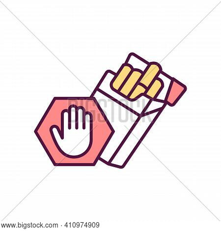 Tobacco Cessation Rgb Color Icon. Quitting Smoking. Oral And Heart Diseases Prevention. Smoking Depe