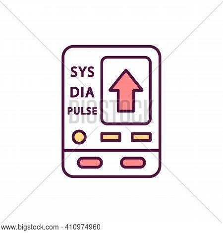 Sphygmomanometer Rgb Color Icon. Hypertension, Hypotension. Blood Pressure Measurement. Heart Rate.