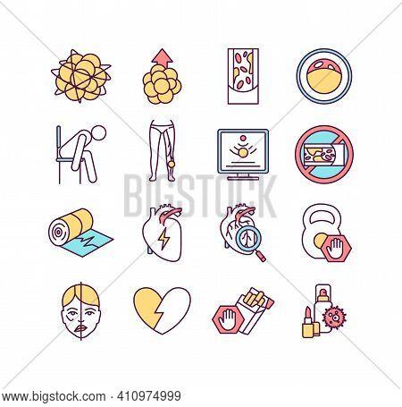 Cardiovascular Diseases Rgb Color Icons Set. Myocardial Infarction. High Cholesterol. Thrombosis. Ar